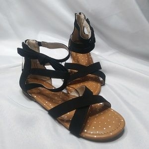 NWOT Girl's Gladiator Sandals 5 Black